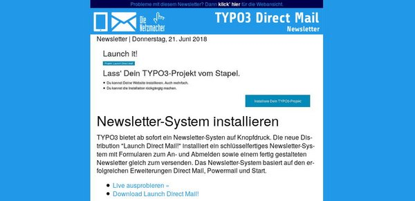 Live testen: Launch TYPO3 Direct Mail!