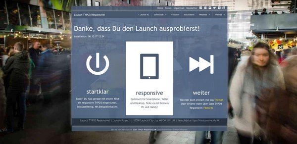 Live testen: Launch Start TYPO3 Responsive!